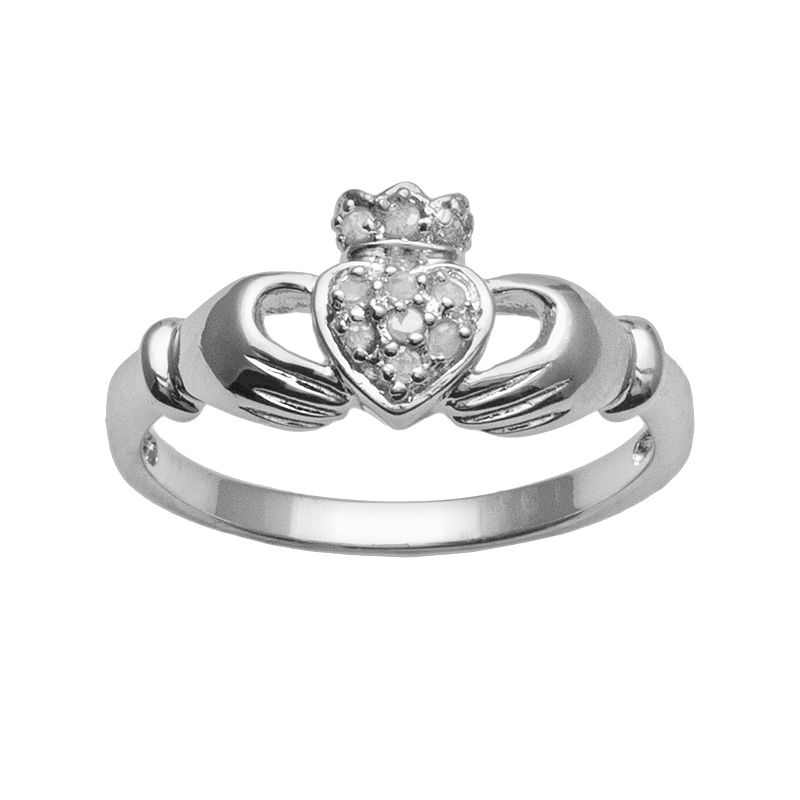 Sterling Silver 1/10-ct. T.W. Round-Cut Diamond Claddagh Ring