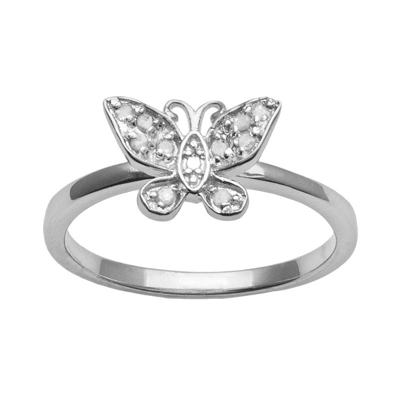 Sterling Silver 1/10-ct. T.W. Round-Cut Diamond Butterfly Ring