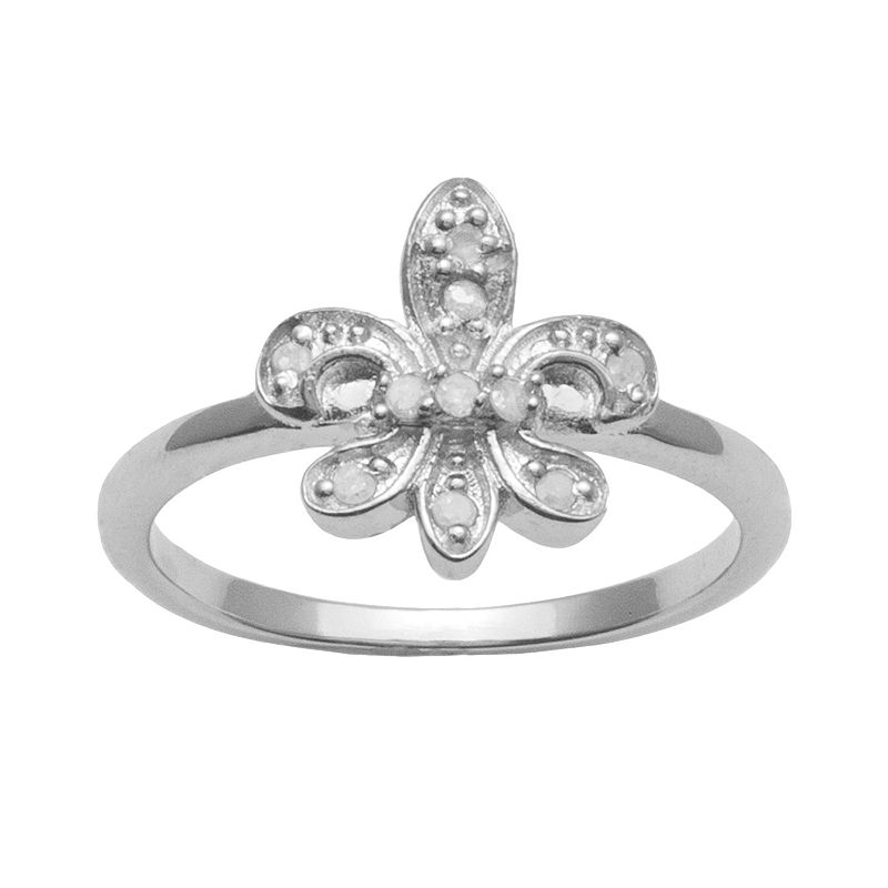 Sterling Silver 1/10-ct. T.W. Round-Cut Diamond Fleur-de-Lis Ring