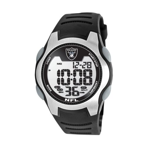 Game Time Training Camp Oakland Raiders Silver Tone Digital Chronograph Watch - NFL-TRC-OAK - Men