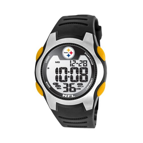 Game Time Training Camp Pittsburgh Steelers Silver Tone Digital Chronograph Watch - NFL-TRC-PIT - Men