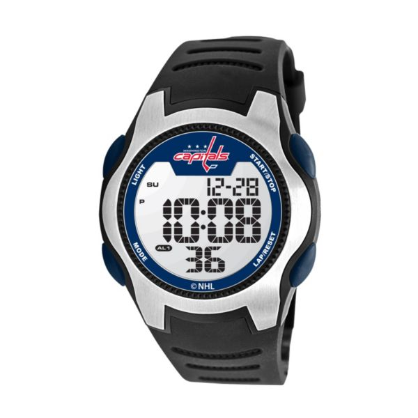 Game Time Training Camp Washington Capitals Silver Tone Digital Chronograph Watch - NHL-TRC-WAS - Men