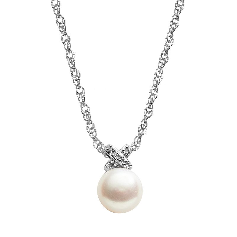Freshwater by HONORA Sterling Silver Freshwater Cultured Pearl and Diamond Accent Pendant