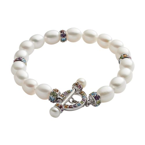 Freshwater by HONORA Sterling Silver Freshwater Cultured Pearl and Gemstone Toggle Bracelet