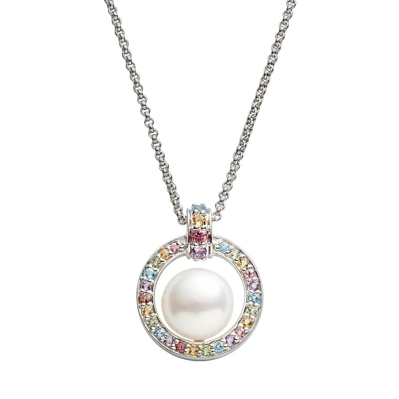 Freshwater by HONORA Sterling Silver Freshwater Cultured Pearl and Gemstone Pendant