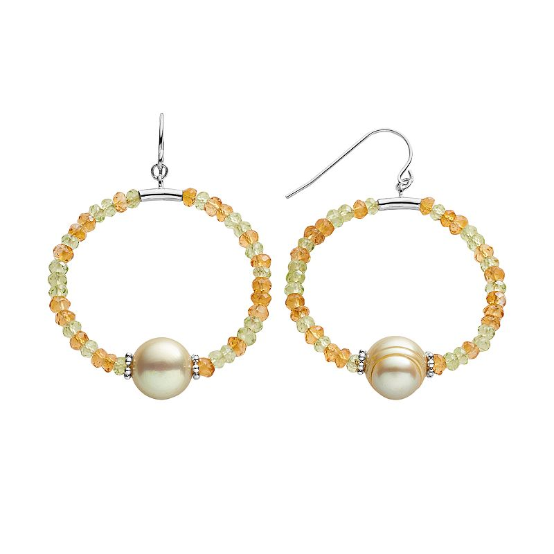Freshwater by HONORA Sterling Silver Dyed Freshwater Cultured Pearl, Peridot and Citrine Hoop Drop Earrings