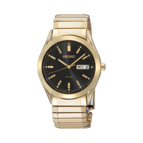Seiko Solar Gold Tone Stainless Steel Expansion Watch - SNE060 - Men