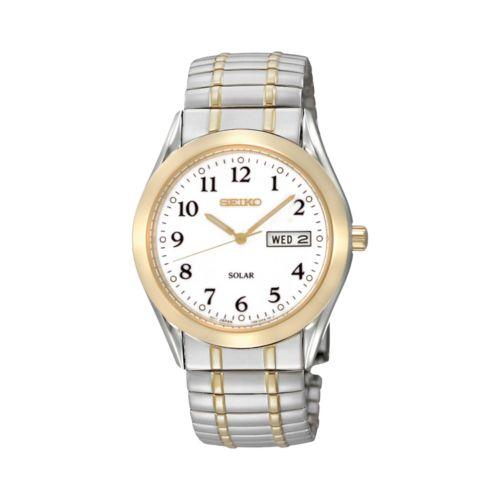 Seiko Solar Two Tone Stainless Steel Expansion Watch - SNE062 - Men