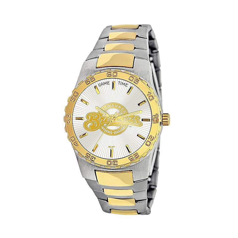 Game Time Executive Series Milwaukee Brewers Two Tone Stainless Steel Watch - MLB-EXE-MIL - Men