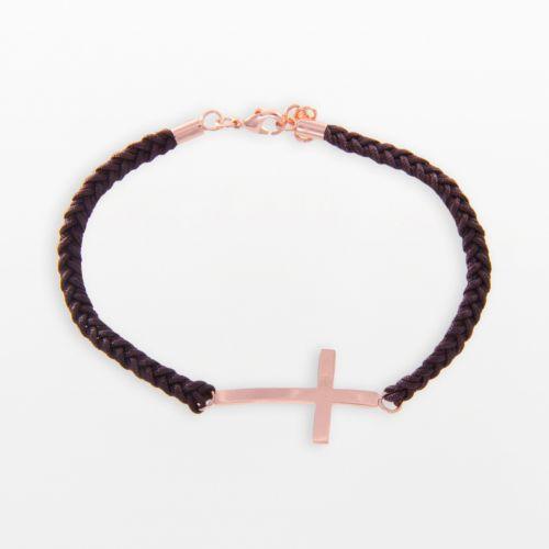 18k Rose Gold-Plated Sideways Cross Macrame Bracelet