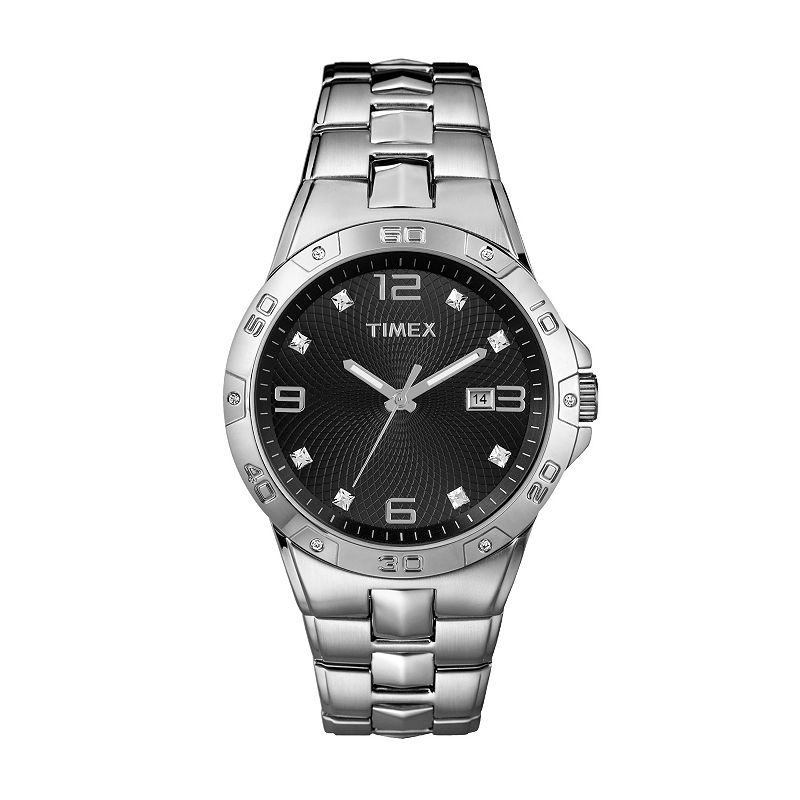 Timex Silver Tone Crystal Watch - Made with Swarovski Crystals - T2P261 - Men