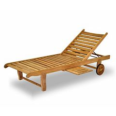 Amazonia Teak 2-pc. Teak Windu Chaise Wheeled Outdoor Lounge Chair Set by