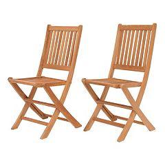 Amazonia Teak Yogya 2-pc. Outdoor Folding Chair Set by