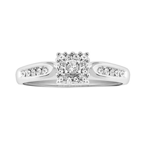 Cherish Always Round-Cut Certified Diamond Engagement Ring in 10k White Gold (1/5 ct. T.W.)