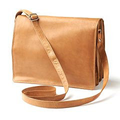 R&R Leather Organizer Flap Leather Crossbody Bag by