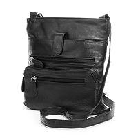 R&R Leather Zipper Leather Crossbody Bag