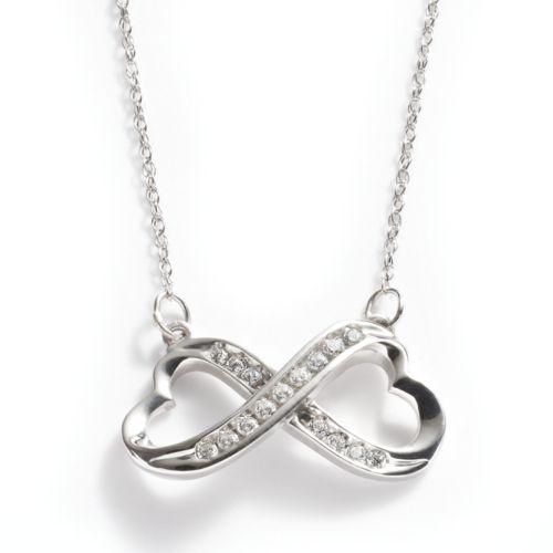 10k White Gold 1/10-ct. T.W. Diamond Infinity Heart Necklace