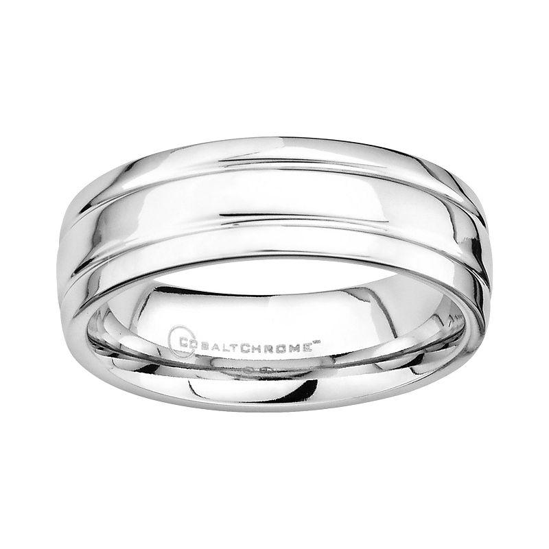 Cobalt Chrome Double Groove Wedding Band - Men