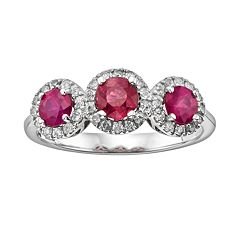 The Regal Collection 14k White Gold Genuine Ruby & 1/5-ct. T.W. IGL Certified Diamond 3-Stone Frame Ring by