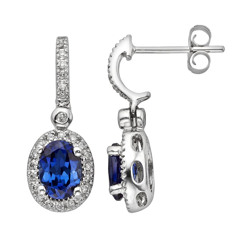 The Regal Collection 14k White Gold Genuine Sapphire and 1/4-ct. T.W. IGL Certified Diamond Frame Drop Earrings