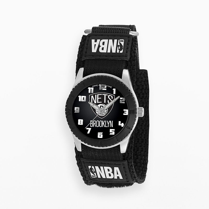 Game Time Rookie Series Brooklyn Nets Silver Tone Watch - NBA-ROB-BK - Kids