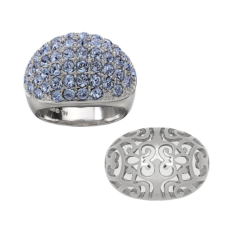 Individuality Rings Interchangeables Silver-Plated Light Blue Crystal and Filigree Dome Ring Set