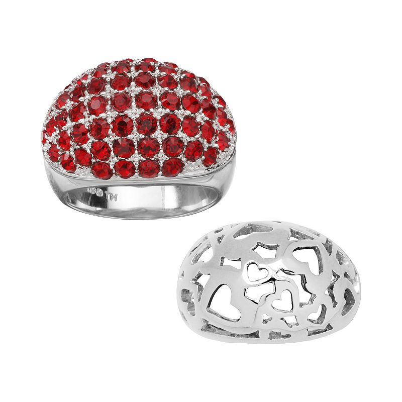 Individuality Rings Interchangeables Silver-Plated Red Crystal and Heart Dome Ring Set