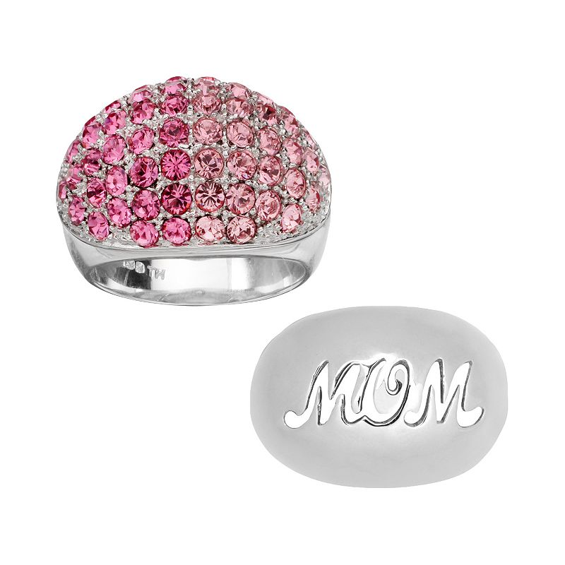 Individuality Rings Interchangeables Silver-Plated Pink Crystal and Mom Dome Ring Set
