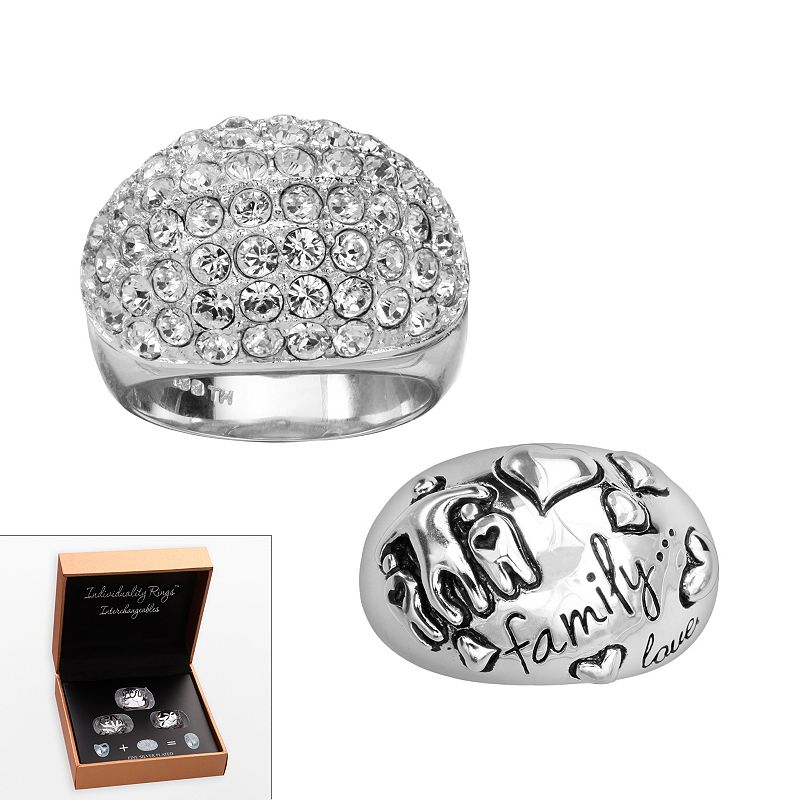Individuality Rings Interchangeables Silver-Plated Crystal and Family Dome Ring Set