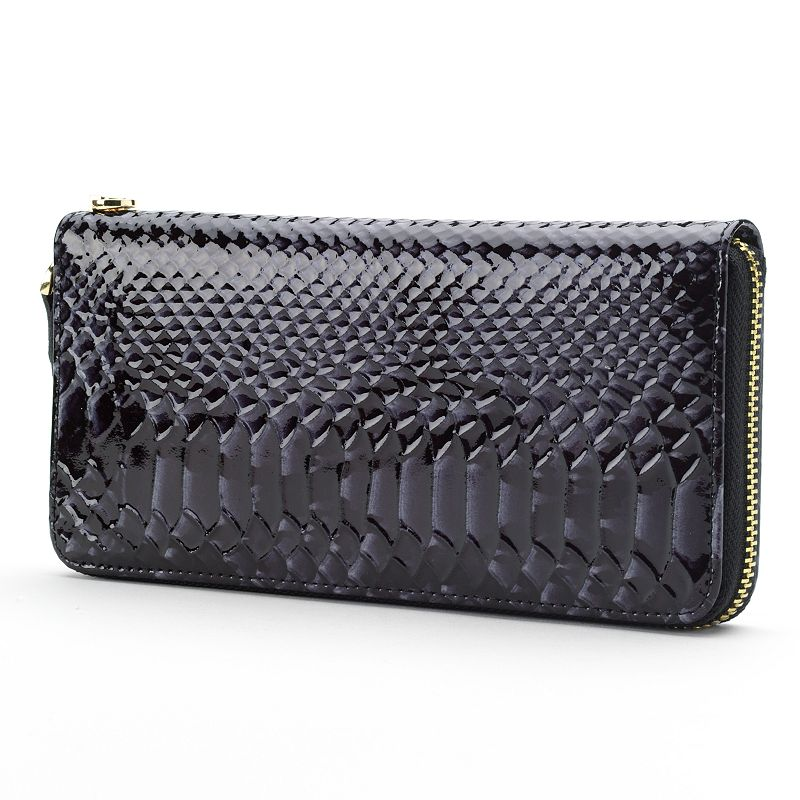R&R Leather Patent Leather Snakeskin Wallet