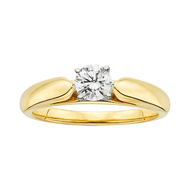 18k Gold 1/2-ct. T.W. Ideal-Cut IGL Certified Diamond Solitaire Ring