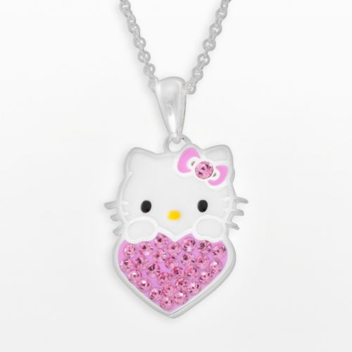Hello Kitty® Silver Plated Crystal Heart Pendant - Kids