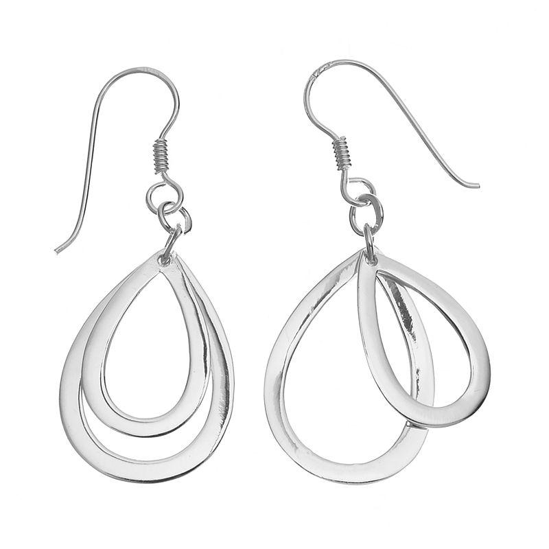 Sterling Silver Double Teardrop Earrings