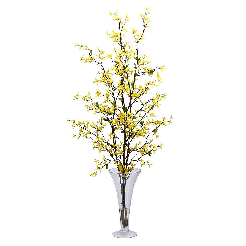 nearly natural Liquid Illusion Silk Forsythia Floral Arrangement