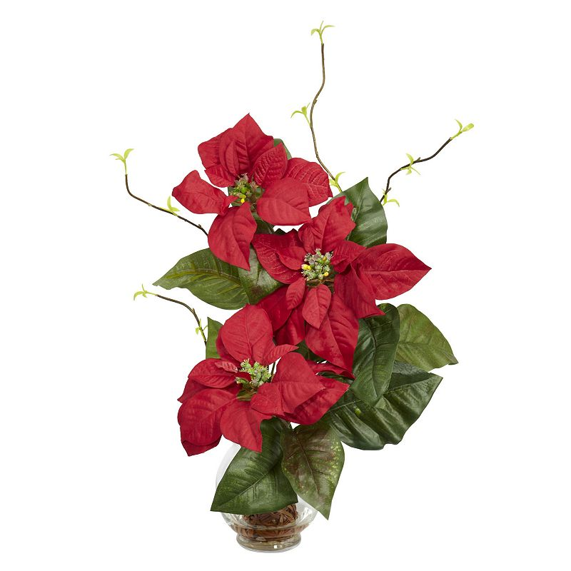 nearly natural Silk Poinsettia & Branch Floral Arrangement