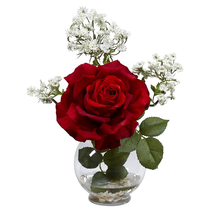 nearly natural Liquid Illusion Silk Rose and Gypso Floral Arrangement
