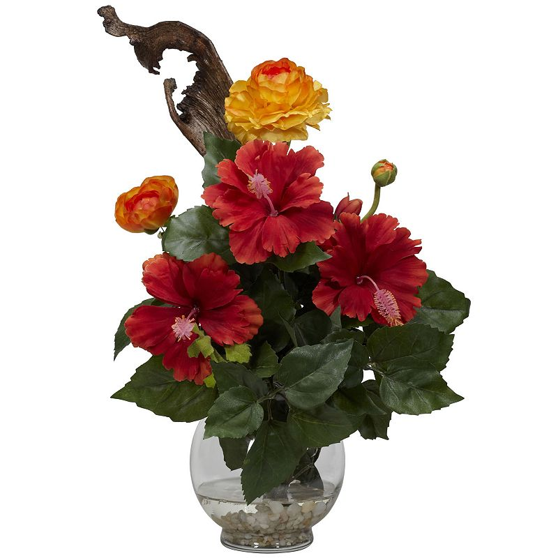 nearly natural Liquid Illusion Silk Hibiscus and Ranunculus Floral Arrangement