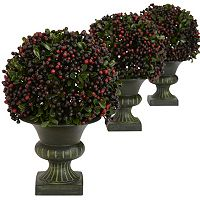 nearly natural 3-pc. Pepper Berry Topiary Plant Set
