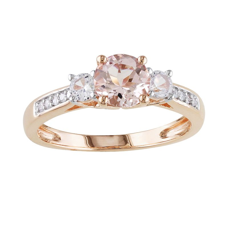 10k Rose Gold Morganite, Lab Created White Sapphire and Diamond Accent 3-Stone Ring