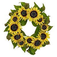 nearly natural 22-in. Silk Sunflower Wreath