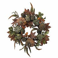 nearly natural 24-in. Pumpkin & Gourd Wreath