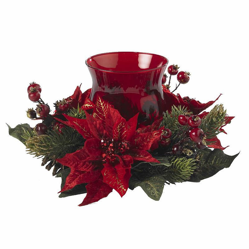 nearly natural Poinsettia and Berry Candleabrum