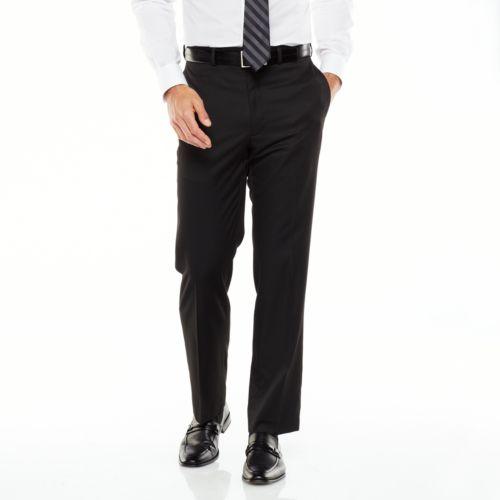Van Heusen Straight-Fit Solid Flat-Front Black Suit Pants - Men