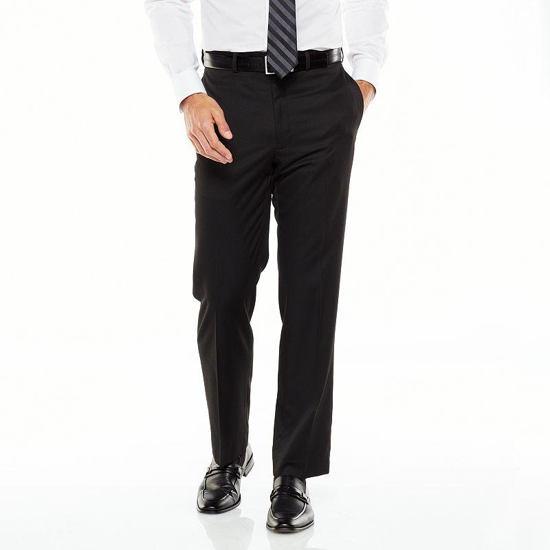 Men's Van Heusen Straight-Fit Solid Flat-Front Black Suit Pants