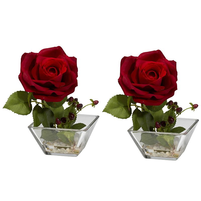 nearly natural 2-pc. Liquid Illusion Silk Rose Floral Arrangement Set