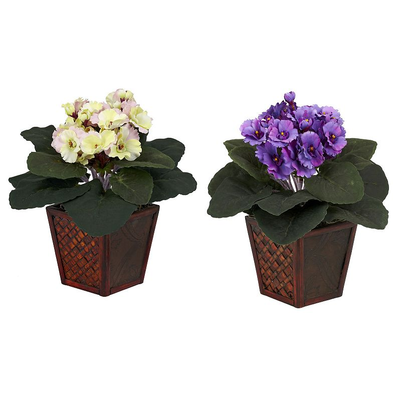 nearly natural 2-pc. Silk African Violet Floral Arrangement Set