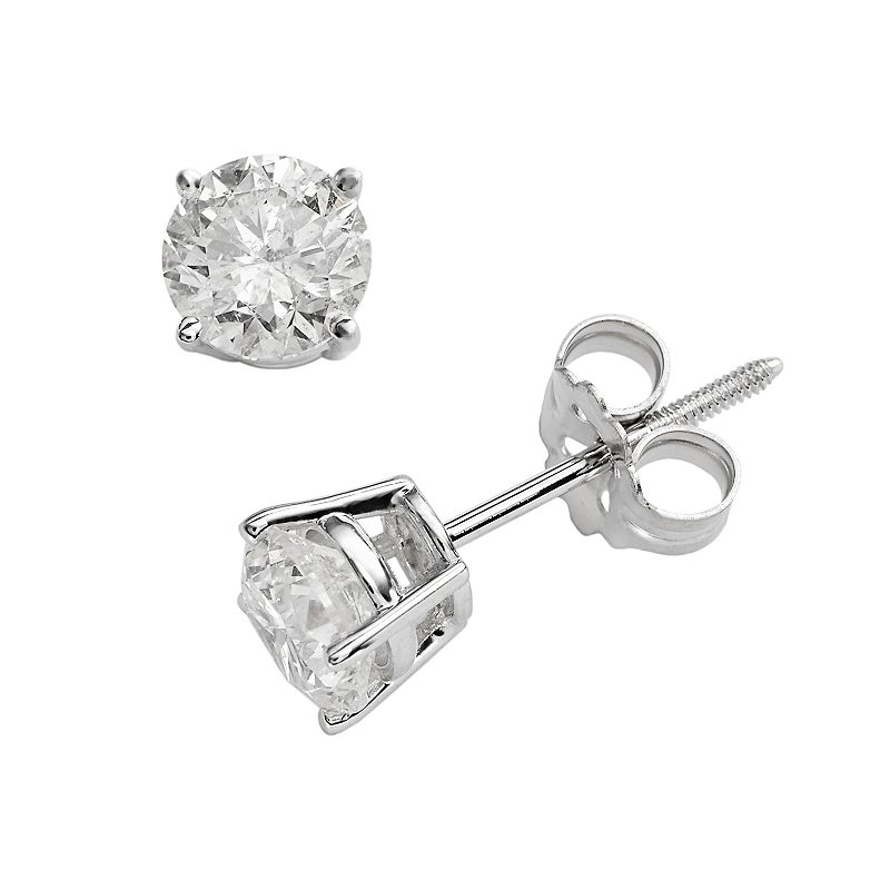 14k White Gold 1-ct. T.W. IGI Certified Round Cut Diamond Solitaire Earrings
