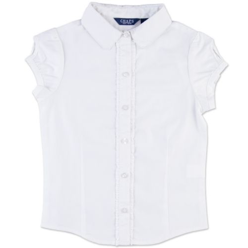Chaps Ruffled Woven School Uniform Shirt - Girls Plus