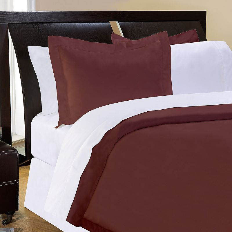 Pointehaven Solid 500-Thread Count Egyptian Cotton Sateen 3-pc. Chocolate Duvet Cover Set - Full/Queen