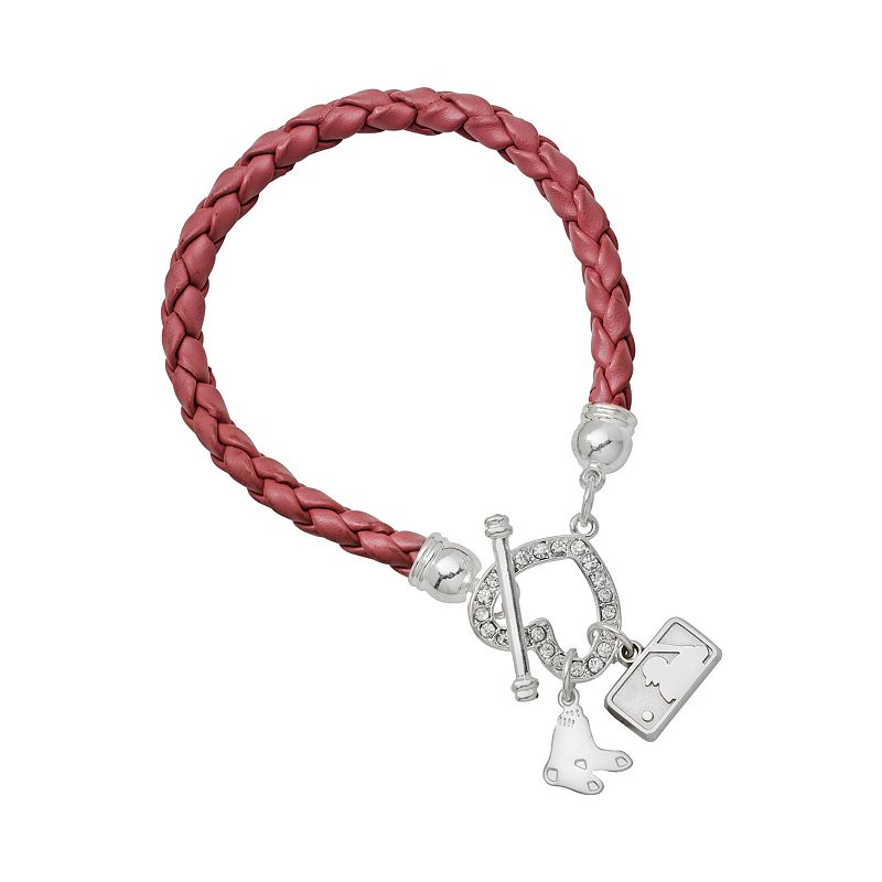 LogoArt Boston Red Sox Devotion Silver Tone Crystal Charm Bracelet